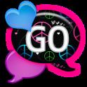GO SMS - Peace N Love Hearts