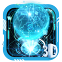 3D Blue Neon Earth Theme