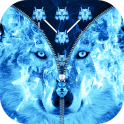 Ice Fire Wolf Lock Screen Zipper