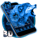 3D Neon Vivid Wolf Theme