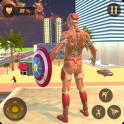 Superhero Captain Robot Flying Newyork City War