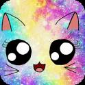 Tema Galaxy Cute Kitty Sparkle