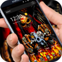 3d hell fire guns skull graffiti theme