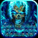 Blue Flame Skull Keyboard Theme