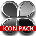 Black silver glas icon pack 3D