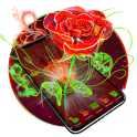 3D Neon Red Rose Launcher Theme