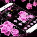 Theme Pink Rose Black Flowers Pendants