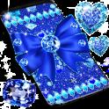Blue glitter diamond bow live wallpaper