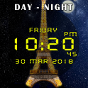 Day night automatic change clock wallpaper