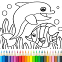Dolphin and fish coloring book