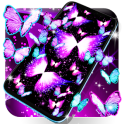 Neon butterflies glowing live wallpaper