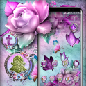 Pink Purple Rose Butterfly Launcher Theme