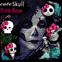 cute skull icon pink bow theme