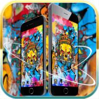 Golden skull theme graffiti