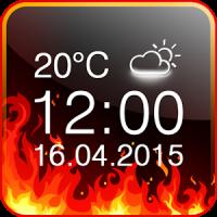 Feuer Digitaluhr und Wetter
