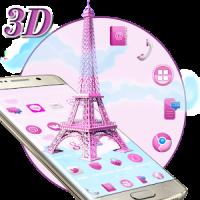 3D Pink Paris Eiffel Tower