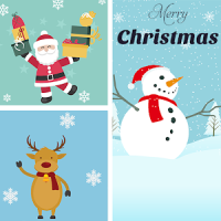 Christmas Grid Photo Collage Layout Collage