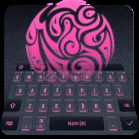 Pink Neon Glow Glossy Keyboard
