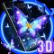 3D Fluorescent Butterfly Launcher Theme